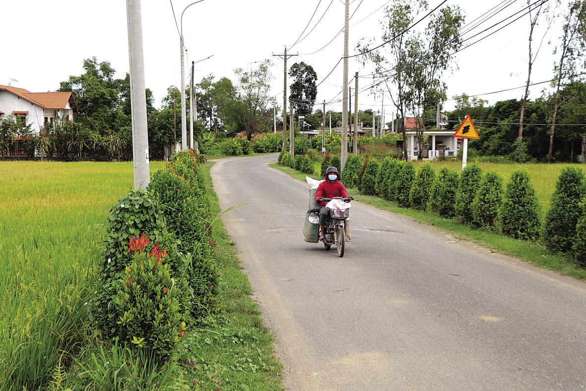 Tuyến đường nông thôn sáng, xanh, sạch đẹp.