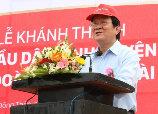 Nguyên Chủ tịch nước Trương Tấn Sang phát biểu tại buổi lễ. Ảnh: Thùy Dung