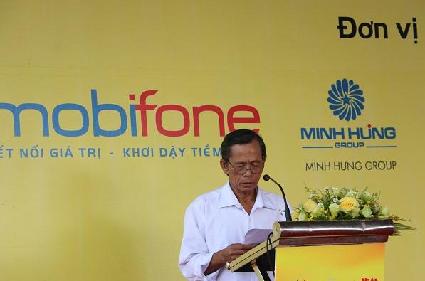 Ông Lê Hồng Dự, đại diện người dân ấp 4, xã Bình Thành, huyện Đức Huệ, tỉnh Long An chia sẻ tại buổi lễ