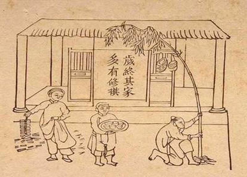 Dựng nêu, đốt pháo ngày tết, tranh ký họa đầu thế kỷ 20 của Oger.