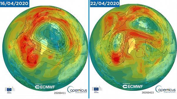 Lỗ thủng tầng ozone ở Bắc Cực đã đóng lại. Đồ hoạ: Cơ quan Theo dõi Khí tượng Copernicus.