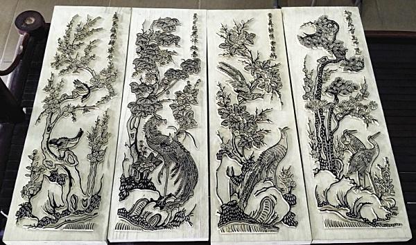 Một số bảng khắc tranh Đông Hồ.