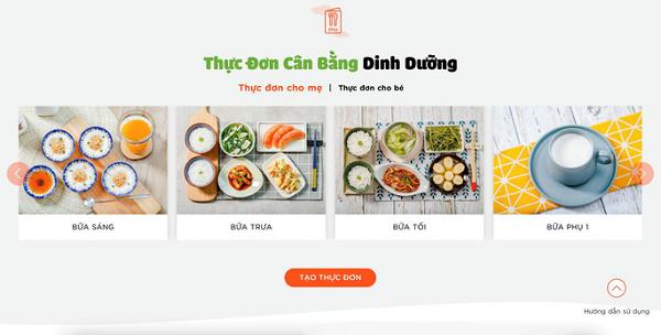 Thực đơn dinh dưỡng 4 bữa/ngày được Phần mềm gợi ý cho mẹ bầu.