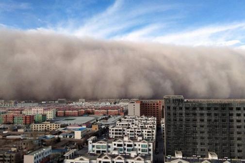 Bão cát tràn vào Thủ đô Bắc Kinh. Ảnh: ABC News.