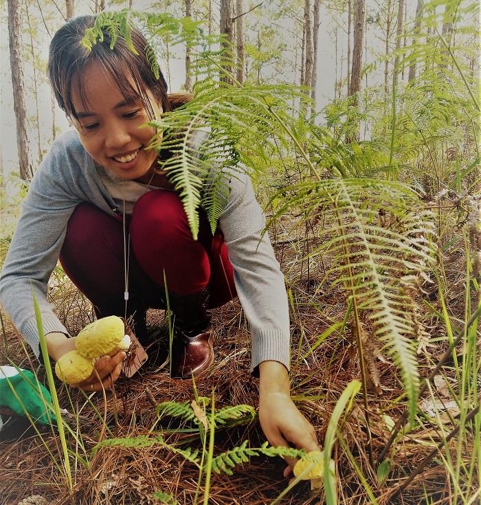 Chị Khánh Mai - khách Sài Gòn trải nghiệm đi hái nấm với người địa phương.