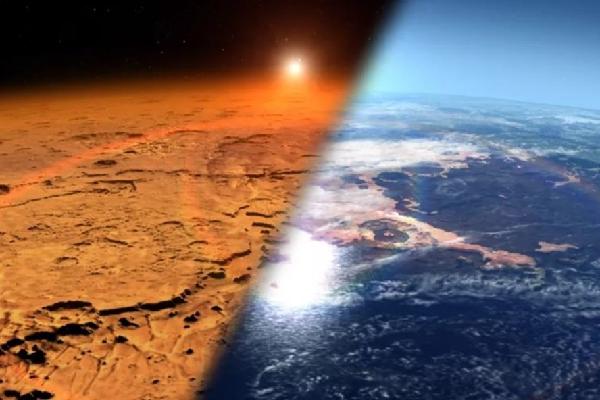 Hình minh họa về môi trường của sao Hỏa từ xa xưa (phải) khi hành tinh đỏ có nước ở dạng lỏng và bầu khí quyển dày hơn và môi trường sao Hỏa khô lạnh ngày nay. Ảnh: Trung tâm Chuyến bay Vũ trụ Goddard của NASA.